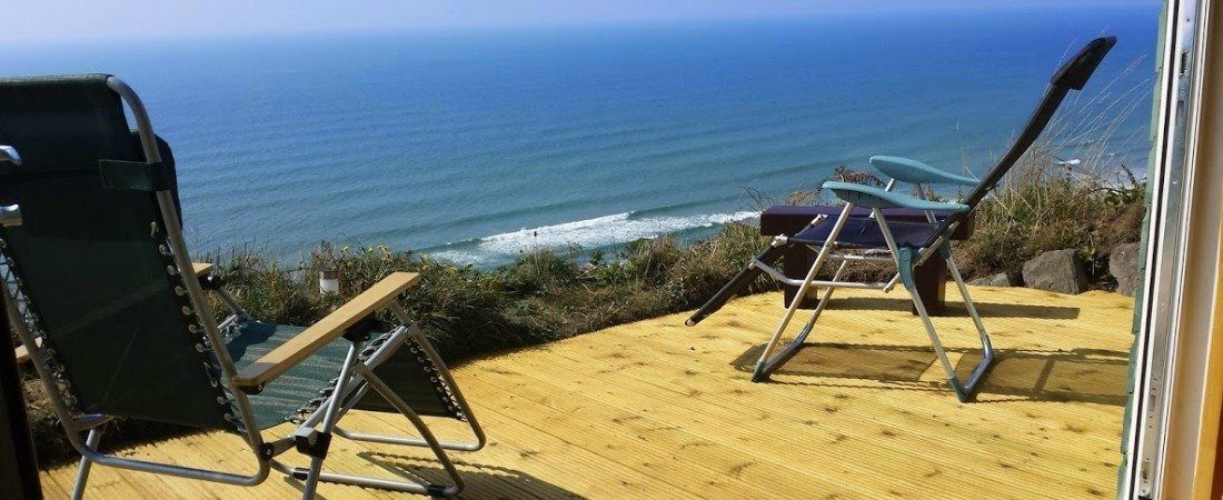 Whitsand Bay Chalet Decking View Seated